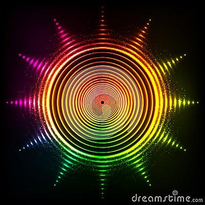Vector shining neon rainbow colors sun