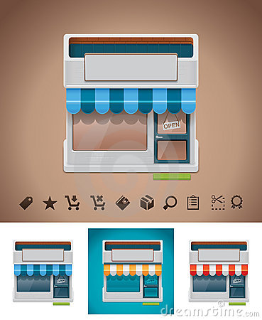 Vector shop icon with related pictograms