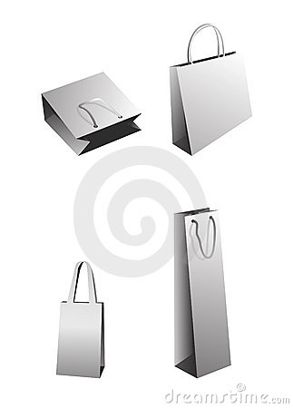 Vector shopping bags, gray white paper package