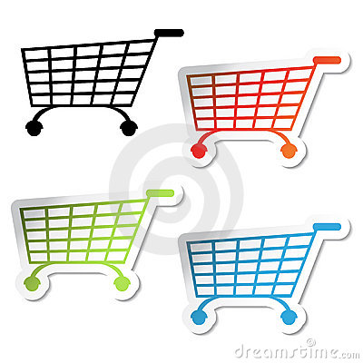 Vector shopping trolley stickers