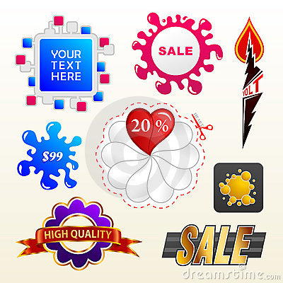 Vector sign collection of sale elements label