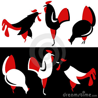 Vector silhouette of chickens