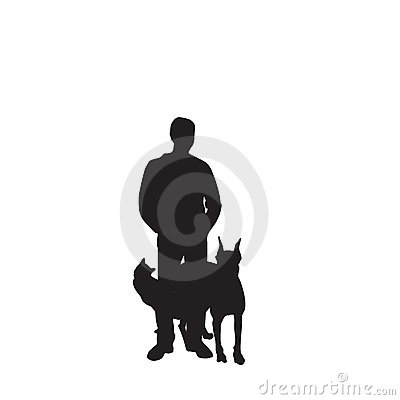 Vector silhouette man and pets