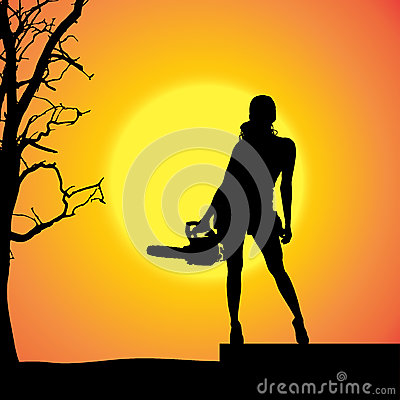Free Vector Silhouette Of A Woman. Royalty Free Stock Image - 46868796