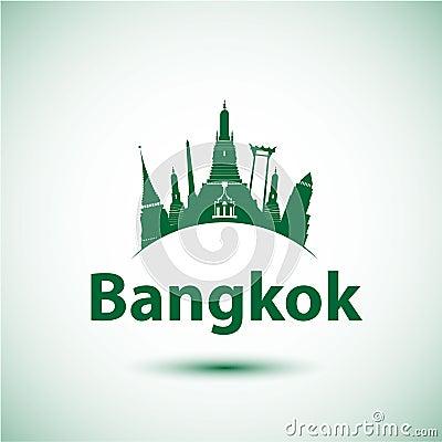 Free Vector Silhouette Of Bangkok, Thailand. Royalty Free Stock Photo - 53064565