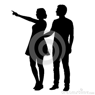 Free Vector Silhouette Of Boy And Girl Standing Together And Pointing Stock Images - 116286654