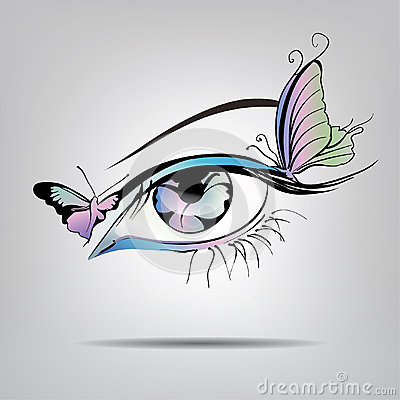 Free Vector Silhouette Of Eyes With Butterflies Stock Images - 37677304