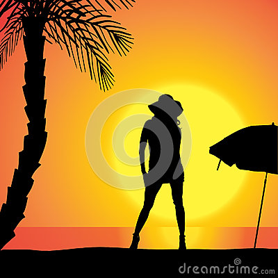 Free Vector Silhouette Of Woman. Stock Photography - 47096102