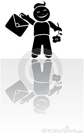 Vector silhouette of schoolboy