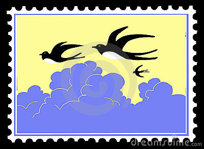 Vector silhouette swallow