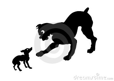 Vector silhouette two dogs
