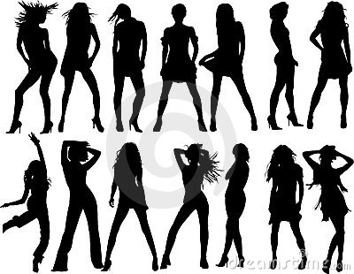 Royalty Free Stock Images: Vector silhouette women