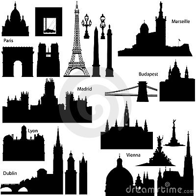 Vector silhouettes of European famous monuments