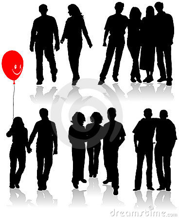 Free Vector Silhouettes Friends (man And Women) Stock Photography - 1747172