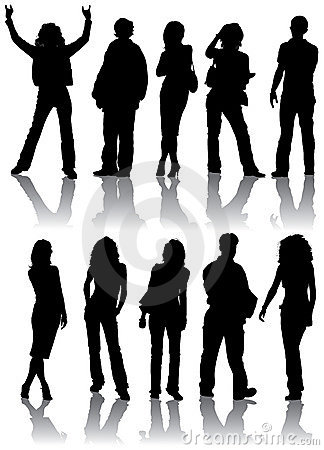 Free Vector Silhouettes Man And Women Royalty Free Stock Image - 1189796