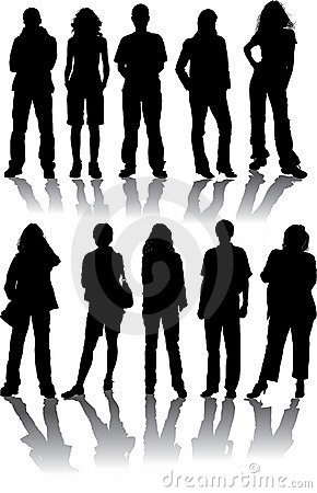 Free Vector Silhouettes Man And Women Stock Photos - 1190043