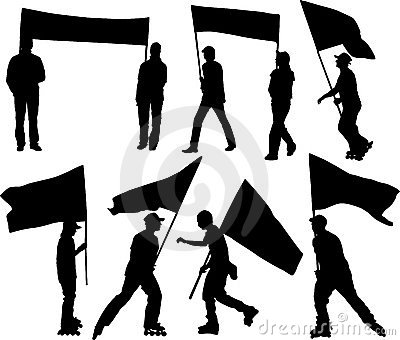 Vector silhouettes man and women with flag and transparency