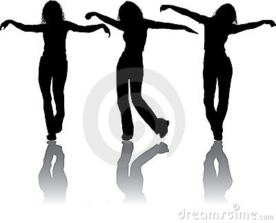 Vector silhouettes young girl