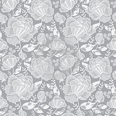 Vector Silver Grey Decorative Roses and Leaves Seamless Repeat Pattern Background. Great for handmade cards, invitations Vector Illustration