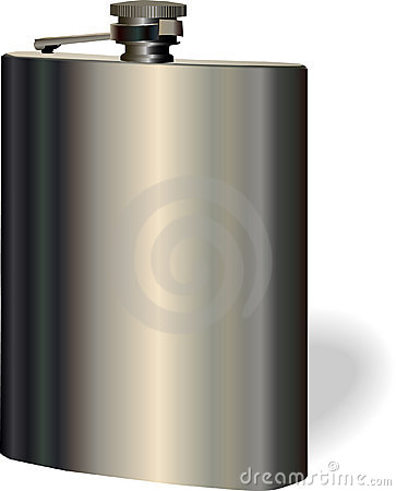 Vector single hip flask on white background
