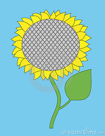 Vector single sunflower