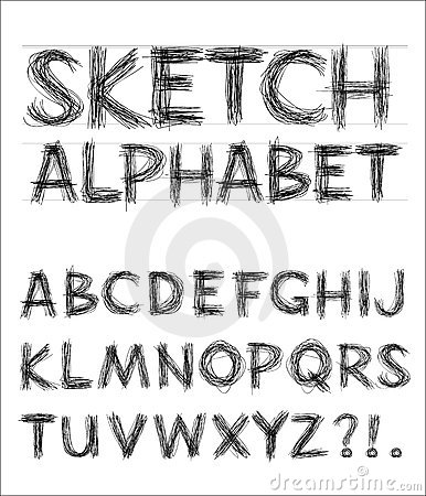 Free Vector Sketch Alphabet Royalty Free Stock Image - 12582696