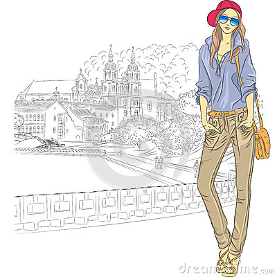 Vector sketch of a fashion stylish girl in the old