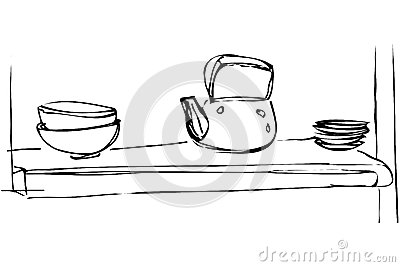 Vector Sketch Iron Kettle Dishes Shelf
