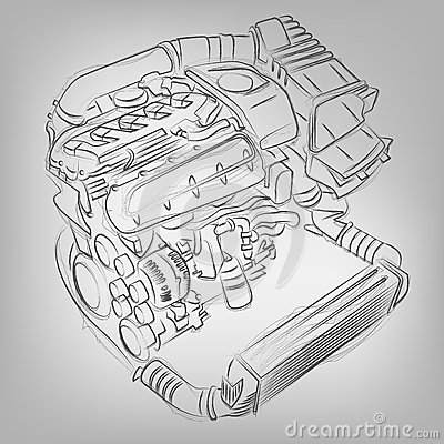 Free Vector Sketched Engine Royalty Free Stock Photography - 35425807