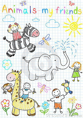 Vector Sketches Happy Children's And Animals Royalty Free Stock Images - Image: 19764969