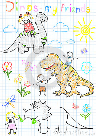 Vector sketches happy childrens and dinosaurs