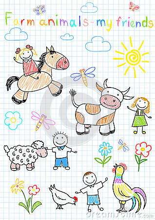 Vector sketches happy childrens and farm animals