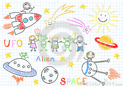 Vector sketches with happy childrens and aliens