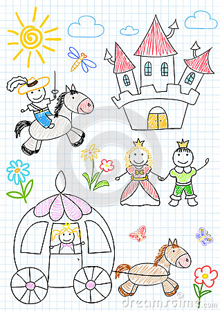 Vector sketches with happy princes and princesses