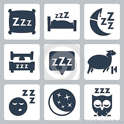 Vector sleep concept icons set