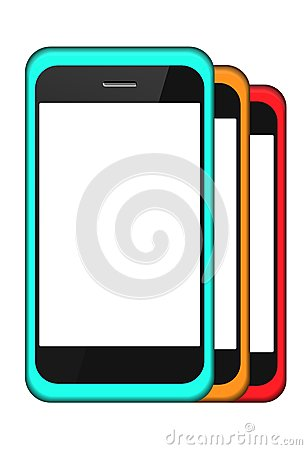 Vector smartphone in a cover set