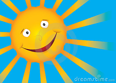 Vector smile sun on blue sky