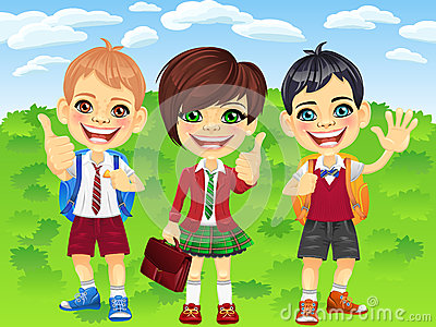 Vector smiling schoolchildren boys and girl