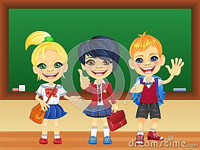Vector smiling schoolchildren near blackboard