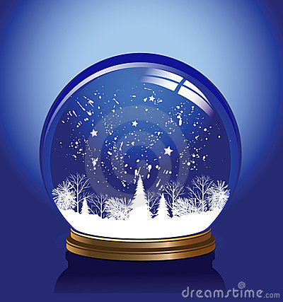 Vector snow globe blue