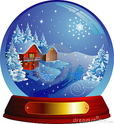 Vector snow globe with a house within