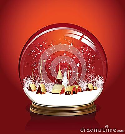 Vector snow globe red