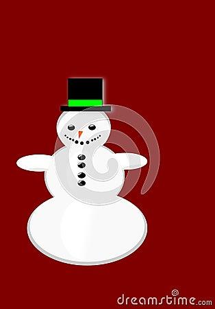 Vector snowman Christmas greeting card.