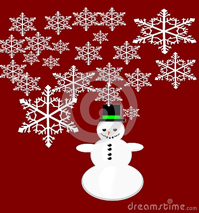 Vector snowman Christmas greeting card.