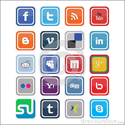 Vector Social Media Icons Stock Photography - Image: 25094662
