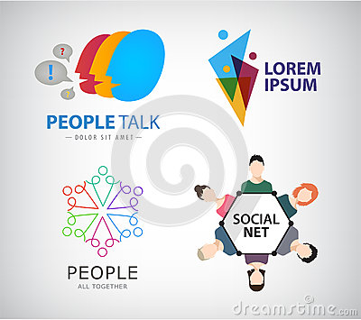 Vector social net logo, people connection logo Vector Illustration
