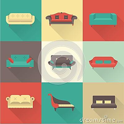Free Vector Sofa Icons Royalty Free Stock Photos - 34815458