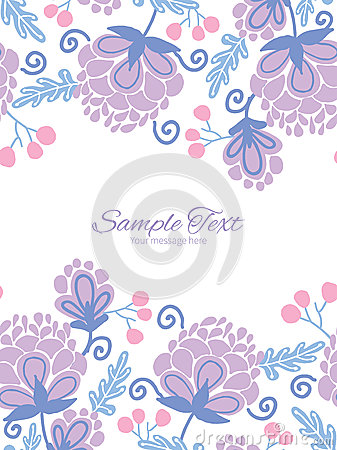 Free Vector Soft Purple Flowers Vertical Double Borders Stock Image - 55353551