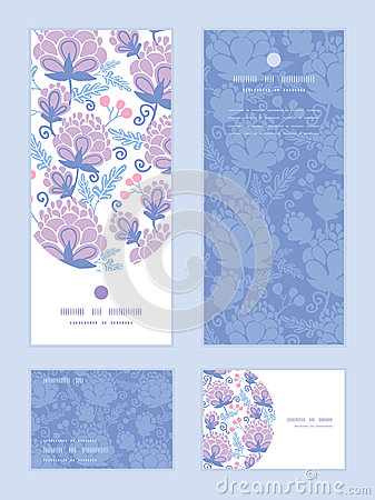 Free Vector Soft Purple Flowers Vertical Frame Pattern Royalty Free Stock Photography - 55353567