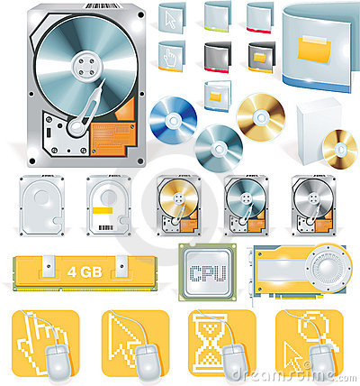 Vector software and hardware icon set